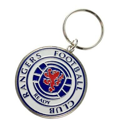 Rangers Fc Metal Embossed Crest Keyring - Glasgow Official Football Gift Club