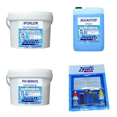 Kit Calcium 30 kg: 10 kg Ipoklor + 10 lt Algastop + 10 kg Ph Minus + Test Kit...