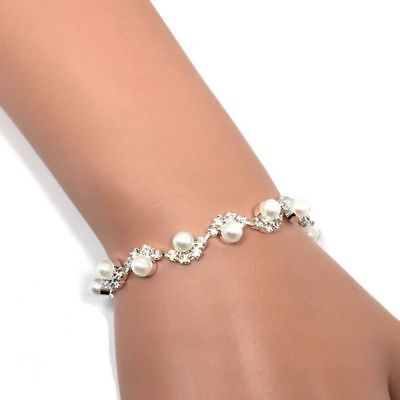 Bridal Crystal Women Bracelet Link Chain Bangle Jewelry