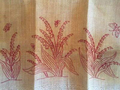 Antique Linen Fringed Show Towel Turkey Red Embroidery Lily Of The Valley Unused