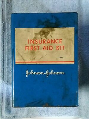 Vintage 1960's Johnson&Johnson Ins. First Aid Kit-Wall Hanging Blue Metal Case