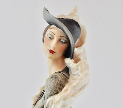 """Giuseppe Armani Statue Lady with Muff Tall Statue, 18.5"""" height"""