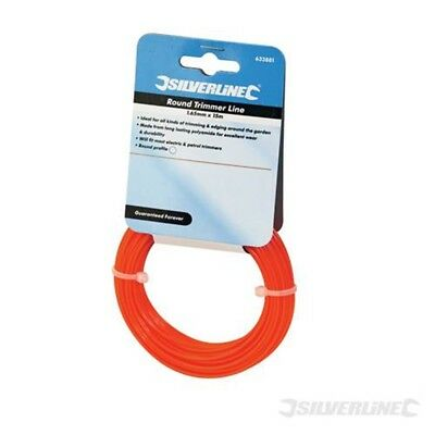 1.65mm x 15m Silverline Ligne De Coupe Ronde - Trimmer Line 165mm Round 633881