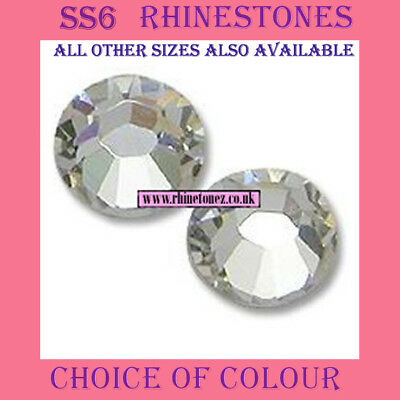 2000 x SS6 - 2mm Crystal Hotfix Rhinestones 30 Colours (or 1000) - FREE POSTAGE