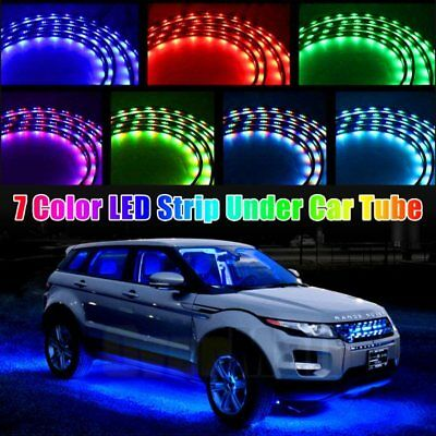6Pcs 7 Color LED Strip Under Car Tube underglow Underbody System Neon Lights Kit