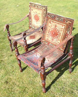 Circa 1900 Pair Of Middle Eastern Campaign Chairs. Price Now Reduced !
