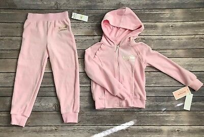 7c7b75f344 Juicy Couture Girls Velour Set Jacket Pants Pink Tracksuit Sweatsuit Size 4