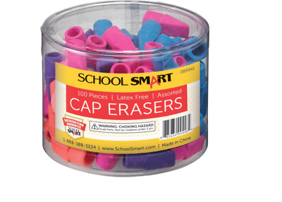 School Smart Chisel Shaped Latex-Free Pencil Cap Eraser, Office Supply