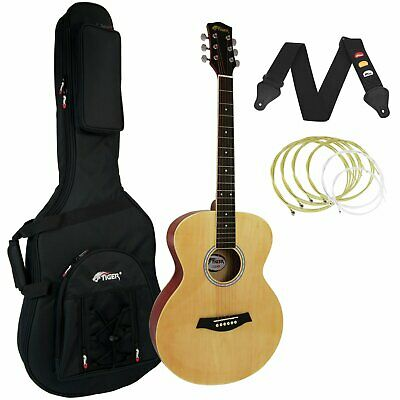 Tiger Natural Acoustic Guitar Package with Premier Padded Bag
