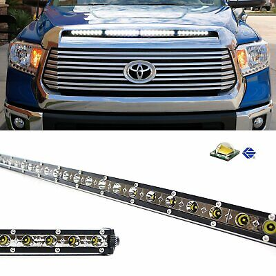 "108W 36"" LED Light Bar w/ Hood Scoop Bulge Mounting Wiring For 14+ Toyota Tundra"