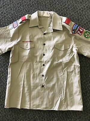 BOY SCOUTS AMERICA Men Tan Button Front Uniform Short Sleeve Shirt Epaulet XL
