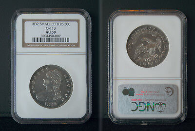 1832 Small Letters Capped Bust Silver Half Dollar NGC AU50