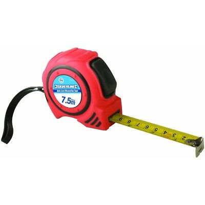 7.5m x 25mm Auto Lock Tape Measure - 75m Auto Silverline 682372
