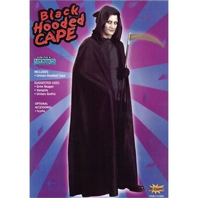 Black Adults Hooded Halloween Cape - Fancy Dress Vampire Costume