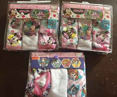 Toddler Girls Disney Minnie Mouse Paw Patrol Lot of 9 Size 4T Panties
