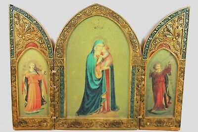 Antique Religious Catholic Mary & Jesus w/ Angels Altar Triptych Hand Painted