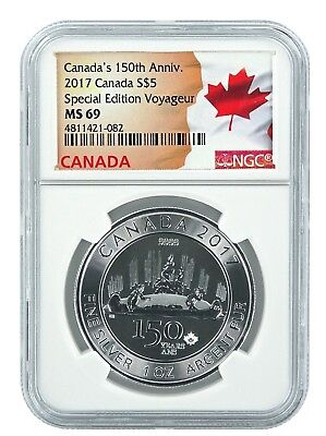 2017 Canada 1oz Silver Special Edition Voyageur 150th Anniversary Coin NGC MS69