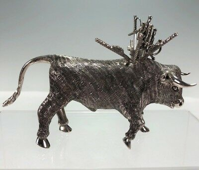 "Large 5.5"" Long Sterling Silver Hors D'oeuvres Hand Chased Bull w 8 Sword Picks"