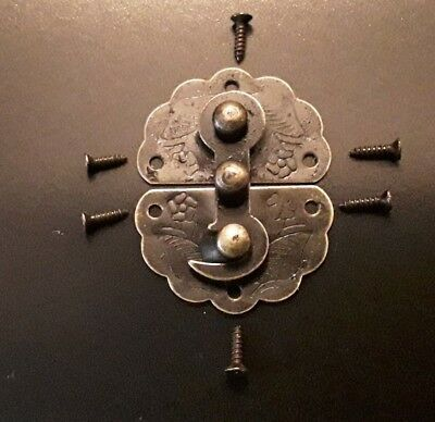 Antique Brass Style Wooden Box Lock Jewellery Chest Latch Clasp & screws UK Sell