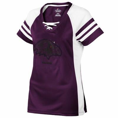 44ad52272 Women s Baltimore Ravens Jersey Tee NFL Draft Me Shimmer Lace Up Shirt