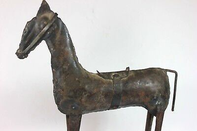 Antique ARTS & CRAFTS Movement Metal Horse w/ Saddle  Handcrafted RARE