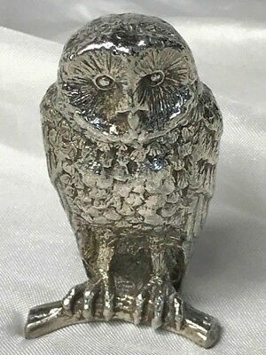 Vintage 20th Century Miniature Silver Plate Repousse Tawny Owl on Perch