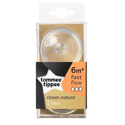 Tommee Tippee Fast Flow Teats - Closer Nature 2 Bottle 6m Baby Pack