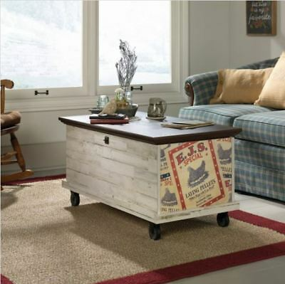 Farmhouse Coffee Table Rolling Storage Trunk Chest Rustic Entryway Bench Wheels