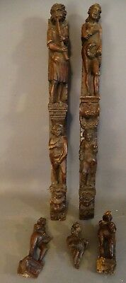 LOT Antique 18thC Figural CARVED Wood LADY & GENT Early FURNITURE STATUE Salvage