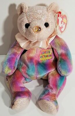 """TY Beanie Babies """"OCTOBER"""" the HAPPY BIRTHDAY Teddy Bear - MWMTs! PERFECT GIFT!"""