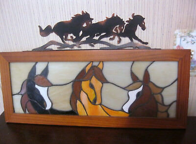 Stained Glass Look Wood Framed Picture 3 Horses Pretty in front of light source