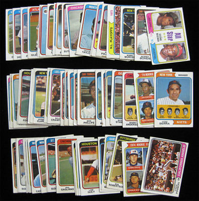 1974 Topps Baseball 50 Card Lot Low-Mid Grade Starter Berra Carew Pinson Bonds