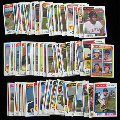 1974 Topps Baseball 50 Card Lot Lower Grade Starter Set w/ Moore RC Bonds Cash