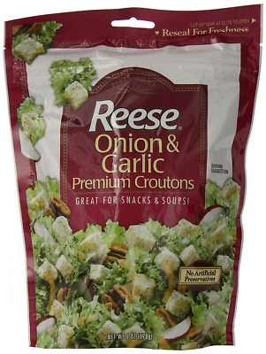 Reese Croutons Onion and Garlic Croutons, 6.0-Ounce Bags (Pack of 12)
