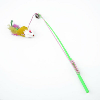 Trick Cat Stick Wand Bell Toy Feather Dangler Teaser Play Pet For Fun Training*
