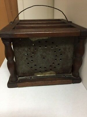 Antique Coach Carriage Heater Church Wood Tin Foot Warmer Portable Stove Ads
