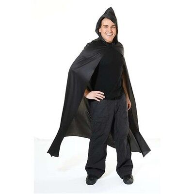 Black Adult's Long Hooded Cape - Fancy Dress Adult Halloween Vampire Costume