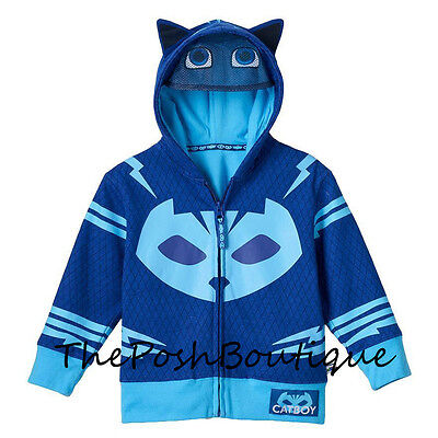 NWT PJ Masks Blue Catboy Boy Girl Costume Hoodie Jacket Mask 2T 3T 4T 5T