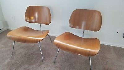 Mid Century Modern Herman Miller Eames 1950s Molded Wood Lounge Chairs