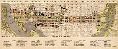 """16""""x38"""" LARGE Development Map of Downtown Washington DC the White House Poster"""