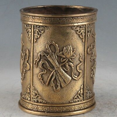 China Antiques bronze Eight Auspicious Symbols Pen container Brush Pots