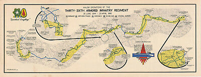 """LARGE 23""""x60"""" Thirty-Sixth Armored Infantry Regiment 36th Army Military War Map"""