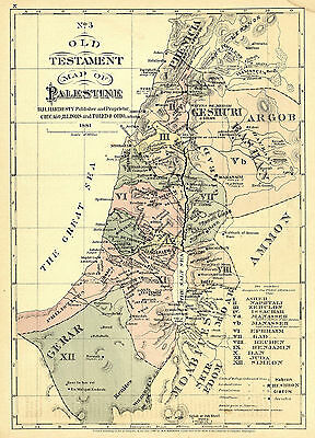 1881 Old Testament Bible Map of Palestine Israel Wall Art Poster Vintage History