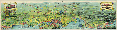 1920 Map Detroit United Railway's Interurban Lines Vintage Historic Wall Poster