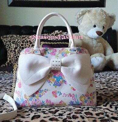 🌸 BETSEY JOHNSON Floral Purse WHITE BOW Pearl Studded Bag Faux Leather