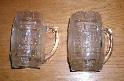 Vintage SET of 2 DAD's ROOT BEER Heavy Barrel Shaped Glass Mugs Raised Graphics