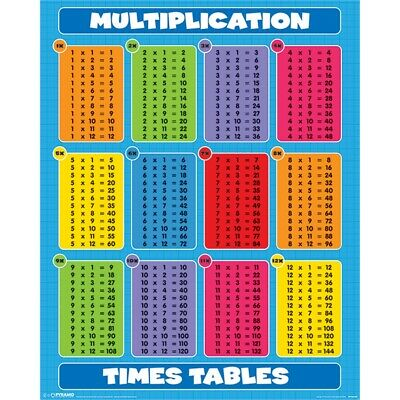 Multiplication (times Tables) - Times Tables Mini Poster 40cm x 50cm New Sealed