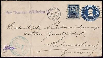 USA GERMANY PER KAISER WILHELM II NY WS 17/9/1906 to MUNCHEN . VF Cover