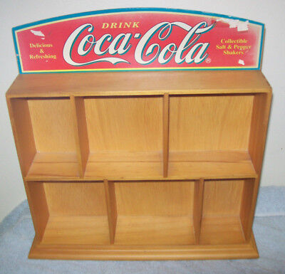 "Linsenced COCA COLA Salt & Pepper Shakers wood display shelf 13""x13"" 22 yrs old"