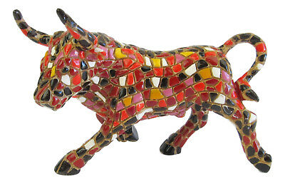Barcino Mosaic Red Tones Bull Figurine - Hand Painted  Approx 8cm High